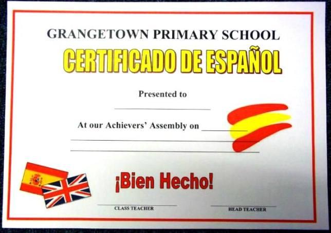 Spanish certificate